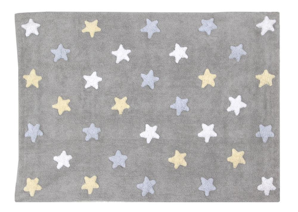 Teppich für Kinderzimmer mit Sterne in Grau mit Hellblau