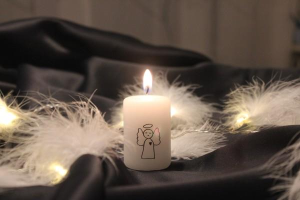 """Rustik Lys - Stumpenkerze klein """"Angel / Engel"""" - 4 x 6 cm"""