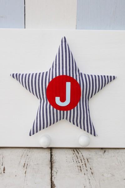 Garderobe 1 Stern mit Buchstabenflock