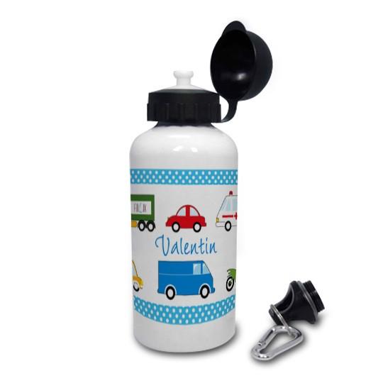 Trinkflasche mit Namen Autos