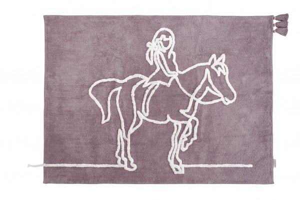 """minividuals - Teppich Lineart """"Mädchen auf Pferd"""""""
