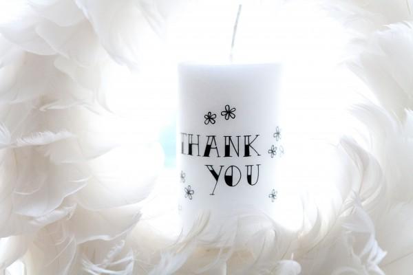 """Rustik Lys - Stumpenkerze """"thank you"""" - 6 x 10 cm"""