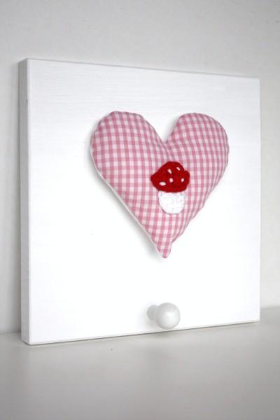 Einzelgarderobe Rosa Herz mit Glückspilz