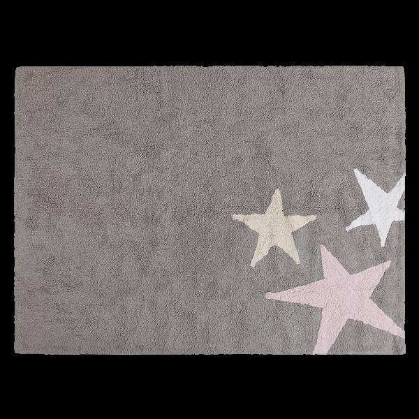 Kinderzimmerteppich Stern Grau Rosa