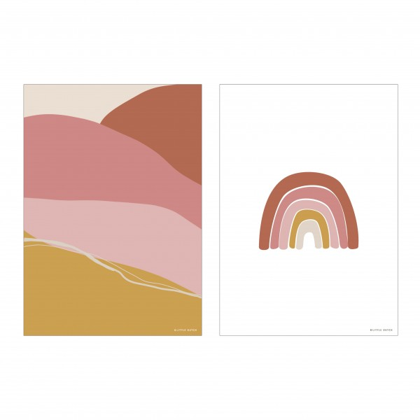 "Little Dutch - Wendeposter ""Regenbogen/Horizon"" - pink"