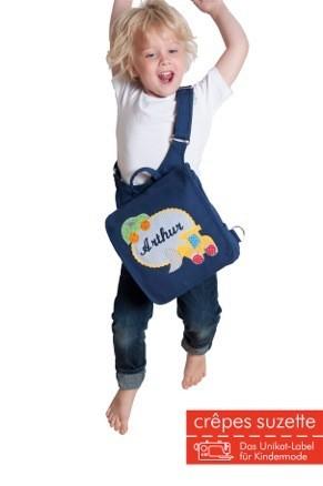 """crepes suzette - Kindergartentasche """"Bär im Auto"""" hellblau"""