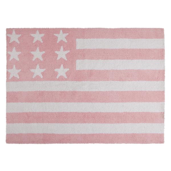 Kinderzimmerteppich Sterne / Flagge Rosa