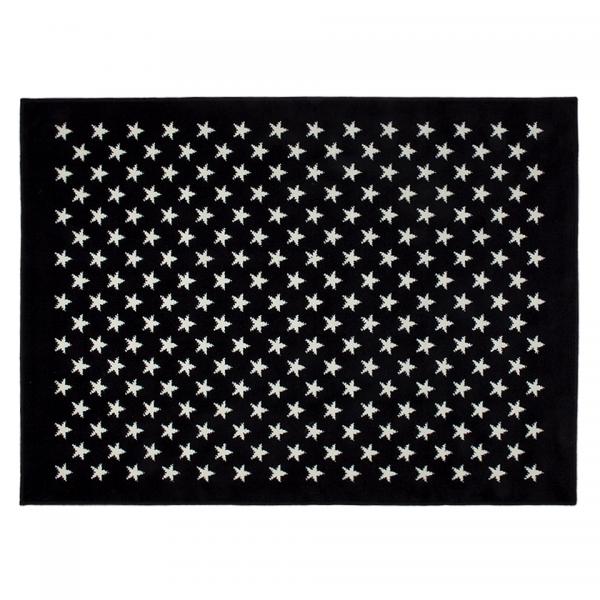 Kinderteppich Schwarz mit Sternen Weiß