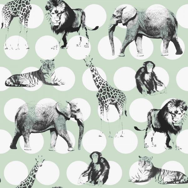 Tapete Mint – Punkte – Wilde Tiere