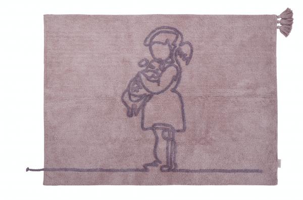 "minividuals - Teppich Lineart ""Mädchen mit Hundewelpen"""