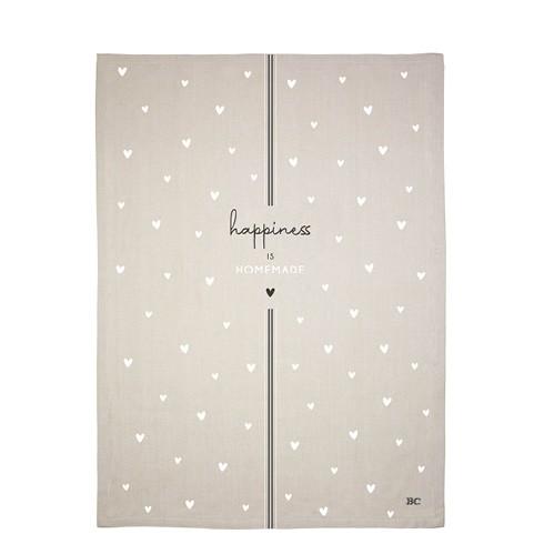 "Bastion Collections - Geschirrtuch ""Happiness / little Hearts"" - 50 x 70 cm"