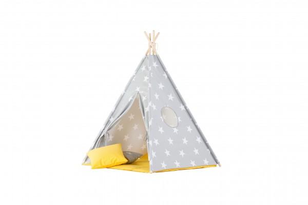 WigiWama - Tipi Set Sterne - Grau mit Matte in Gelb