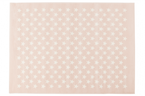 Kinderteppich rutschfest in Hell Rose mit Sternen Weiß