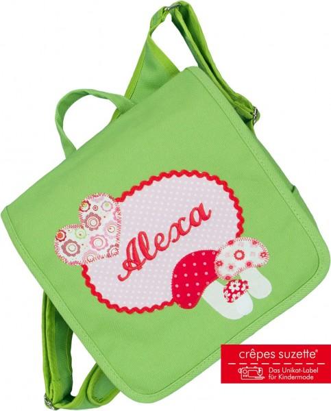 """crepes suzette - Kindergartentasche """"Glückspilz"""" grün"""