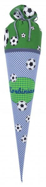 "crepes suzette - Schultüte ""Fussball2"" blau-grün"