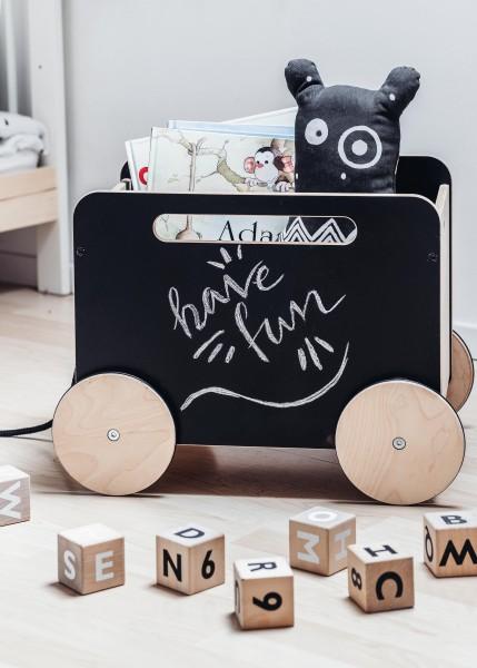 ooh noo - Spielwagen auf Rädern - Blackboard - schwarz