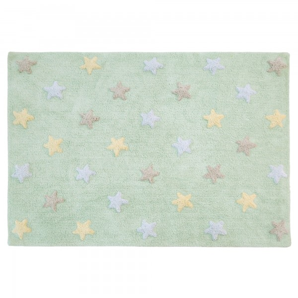 Waschbarer Teppich für Kinderzimmer mit Sterne in Mint | Meine ...