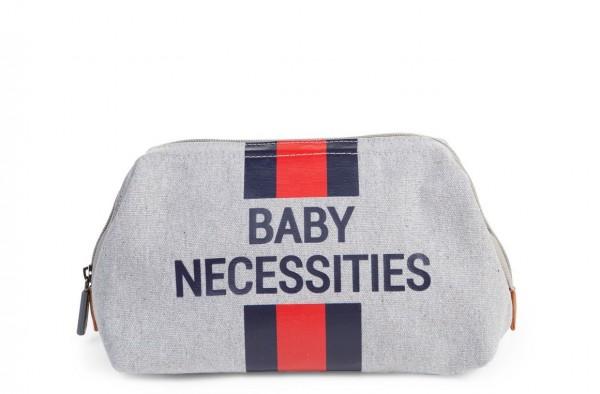 """Childhome - Kulturtasche """"Baby Necessities"""" - Canvas grau - Streifen rot/blau"""