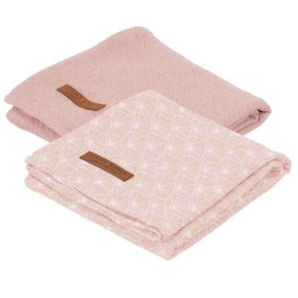 """Little Dutch - Swaddle Tücher im 2er-Set """"Lily Leaves Pink/ Pure Pink"""""""