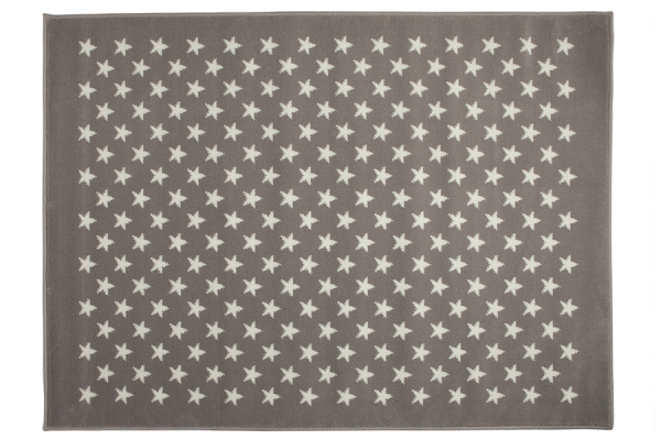 Kinderteppich rutschfest in Grau mit weißen Sternen