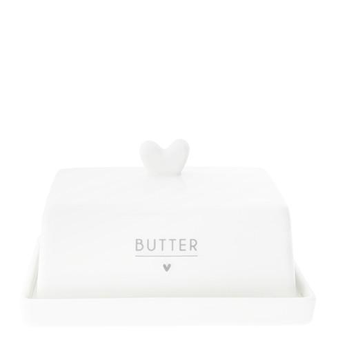 """Bastion Collections - Butterdose """"Herz"""" weiß/grau"""