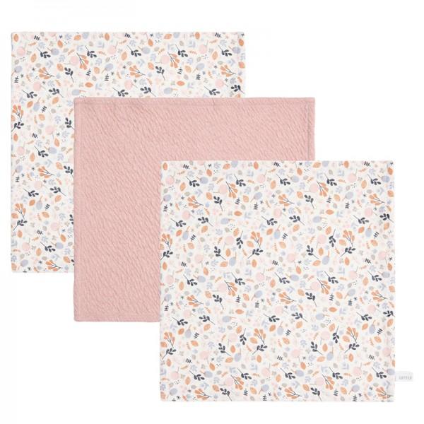 "Little Dutch - Schnullertuch 3er-Set ""Spring Flowers/Pure Pink"""