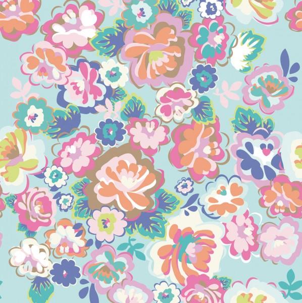 Tapeten Bild Country Flower Aqua 280 cm x 279 cm