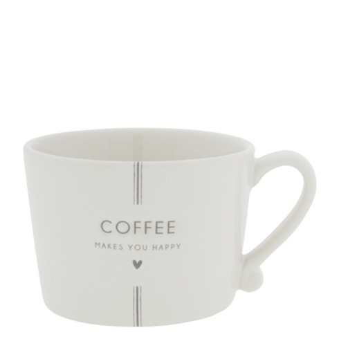 """Bastion Collections - Tasse """"Coffee makes you happy"""" - weiß/grau"""