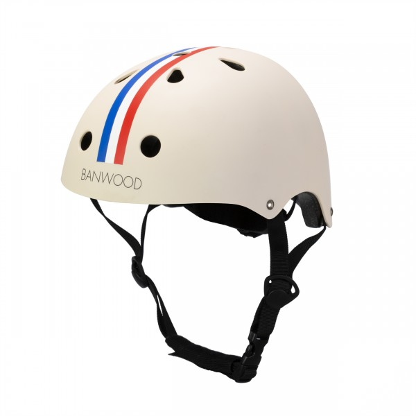 "Banwood - Helm Classic ""Creme mit Racingstreifen"""