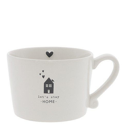 """Bastion Collections - Tasse """"Let's stay HOME"""" - weiß/schwarz"""