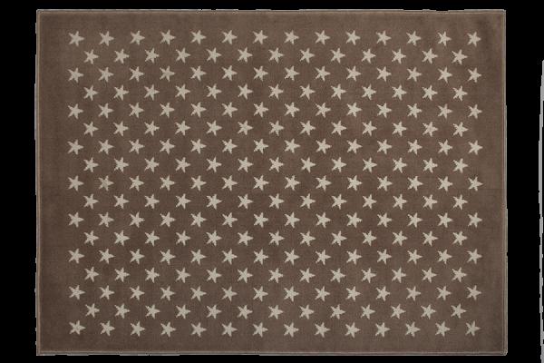 Kinderteppich Braun mit Sternen in Weiß