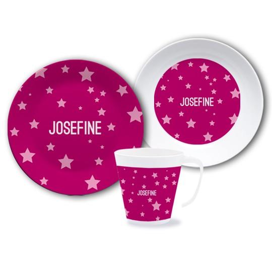 """Geschirrset """"Sterne"""" pink - personalisierbar"""