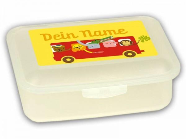 Brotdose Bus Rot mit Namen