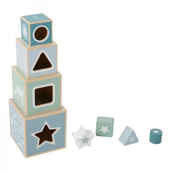 Holz Stapel Turm Pastell Blau
