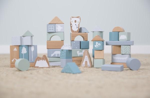 """Little Dutch - Holzbausteine in Box """"Adventure Blue"""""""