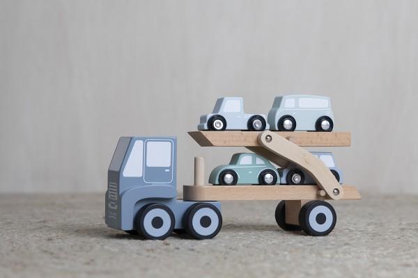 """Little Dutch - Auto-Transportwagen mit Auflieger Holz """"mint"""""""