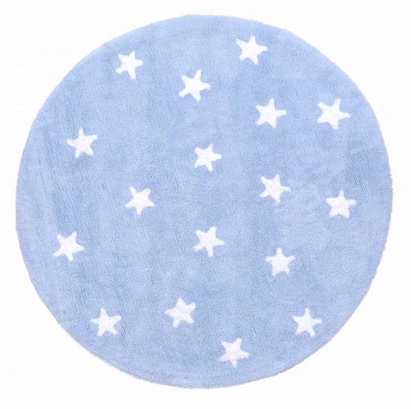 Kinderzimmerteppich rund in Hellblau Sterne