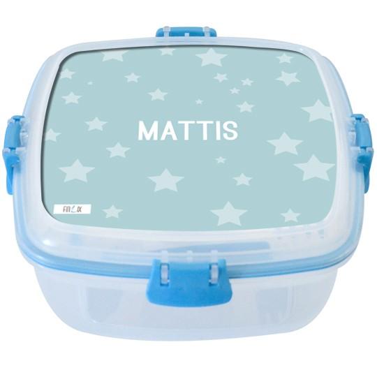 """Lunchbox groß """"Sterne"""" hellblau - personalisierbar"""