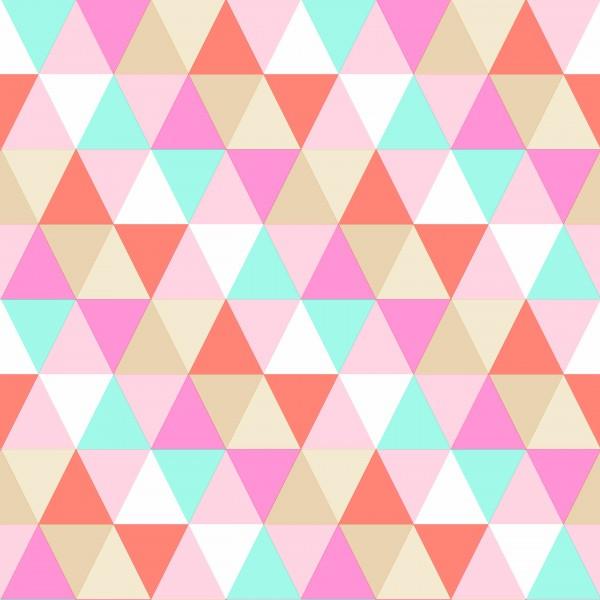 Tapete Retro Dreiecke Pink