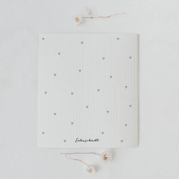 Eulenschnitt - Schwammtücher 3er-Set - kleine Herzen
