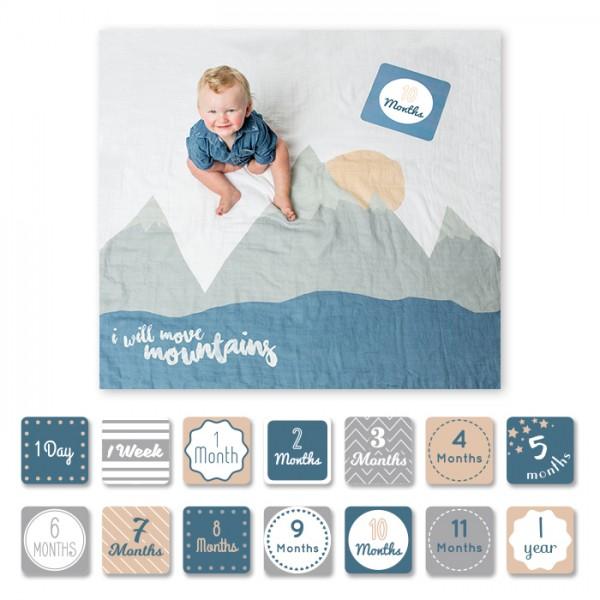 Babys First Year Set aus Meilensteinkarten und Mousselintuch