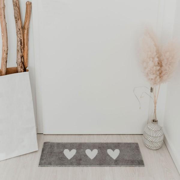 """Eulenschnitt - Outdoor Fußmatte """"Hearts"""" grau/weiß klein"""