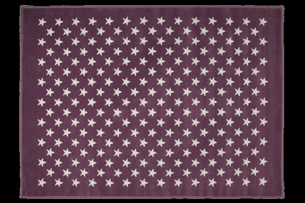 Kinderteppich rutschfest in Lila mit Sternen Weiß
