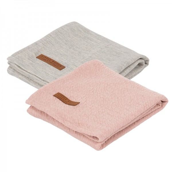 "Little Dutch - Swaddle Tücher 2er-Set ""Pure Pink"" 70 x 70 cm"