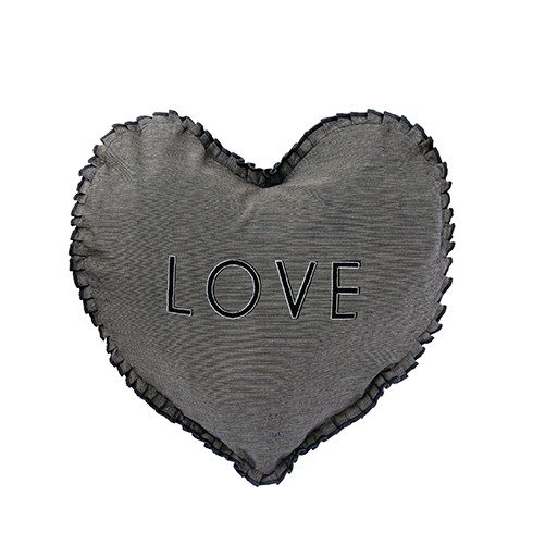 """Bastion Collections - Herzkissen mit Inlet """"LOVE"""" schwarz 50x51 cm"""