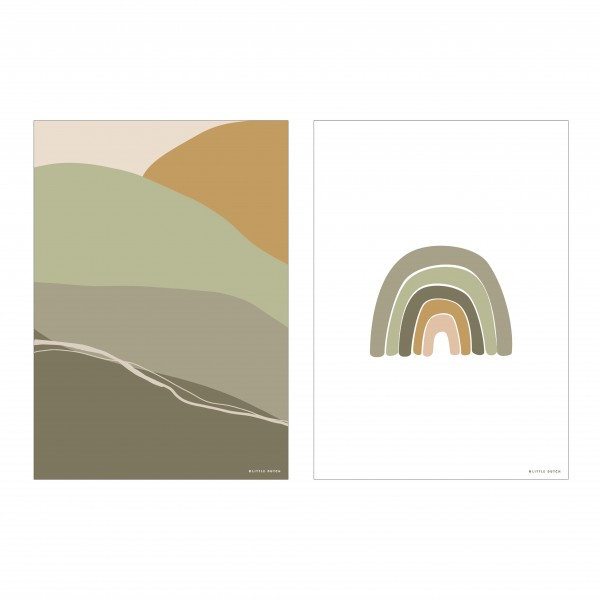 """Little Dutch - Wendeposter """"Regenbogen/Horizon"""" - olive"""