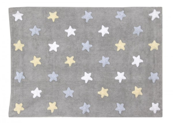 Teppich für Kinderzimmer mit Sterne in Grau mit Hellblau günstig ...