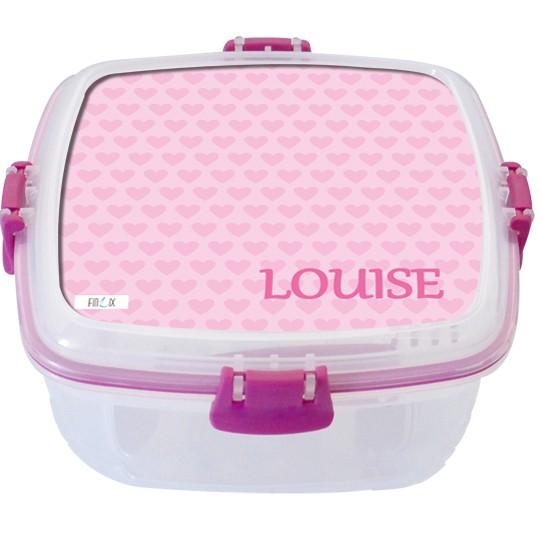 """Lunchbox groß """"Herzchen"""" rosa - personalisierbar"""