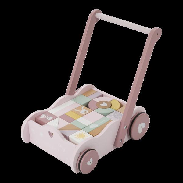 """Little Dutch - Lauflernwagen mit Bauklötzen """"Adventure Pink"""""""