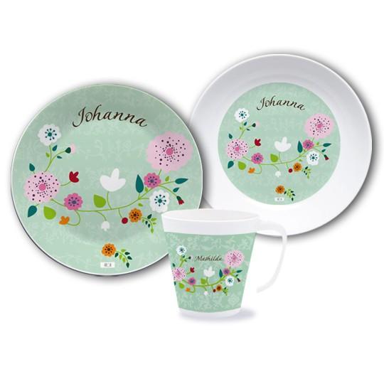 Geschirrset mit Namen Floral Mint